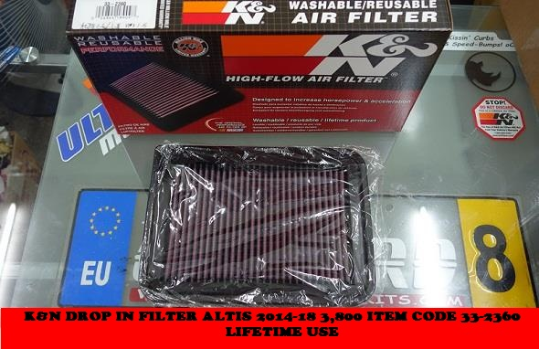 KNN DROP IN FILTER ALTIS 2014-19