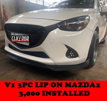 UNIVERSAL 3PC LIP DIFFUSER ON MAZDA2